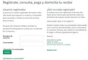 Registro nuevo usuario cfe