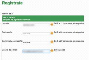 registro nuevo usuario cfe paso 2