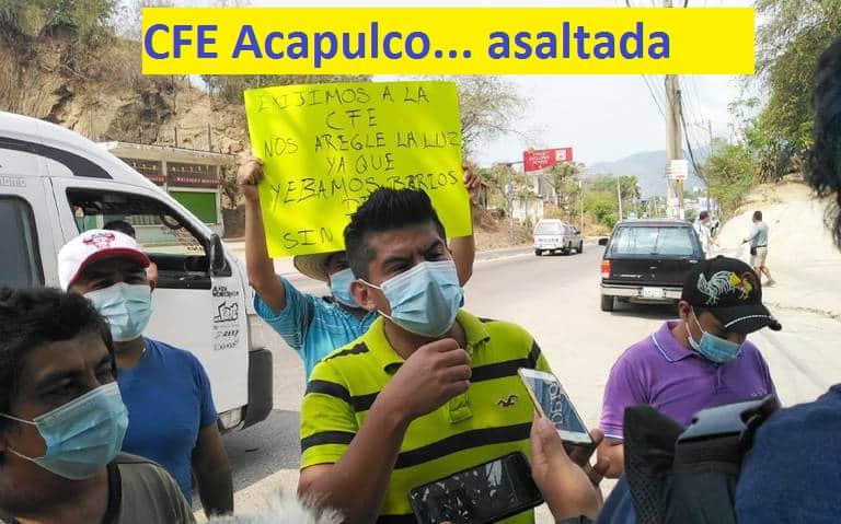 protesta ante CFE falta de luz en acapulco junio 2021